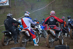 A shot of a motocross rider during a race Stock Images