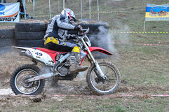 A shot of a motocross rider during a race Stock Photos