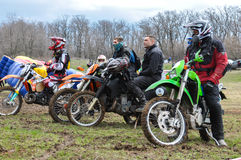 A shot of a motocross riders during a race Royalty Free Stock Photo
