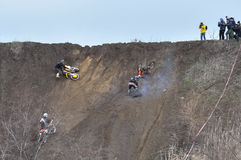 A shot of a motocross riders during a race Stock Photo