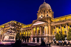 Shot of night Buda Castle in Budapest, Hungary Royalty Free Stock Images