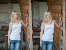 Free Shot Of Beautiful Girl Near An Old Wooden Fence. Stylish Look Wear: White Basic Top, Denim Jeans. Country Style Farmer Stock Photo - 57940320