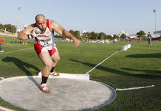 Shot out athletic competition thrower Royalty Free Stock Photography