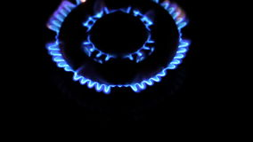 Shot over kitchen gas stove stock video