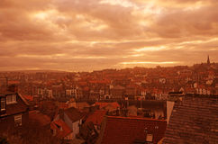 A shot over the roof tops at Whitby harbor in the  Royalty Free Stock Photography