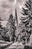 Shot of a park with church in berlin Royalty Free Stock Image