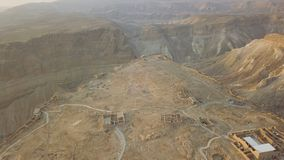 Shot of the part of masada fortress. From the top royalty free stock images