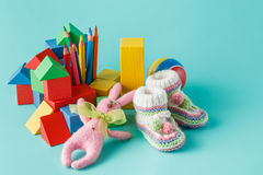 Shot of pile of various toys and figurines Royalty Free Stock Images