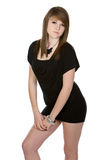 Shot of a Pretty Teen in Black Dress Stock Photography