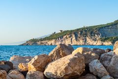 Shot of the promenade of Massa Lubrense, near Sorrento, and its breakwaters. On a hot summer day royalty free stock photos