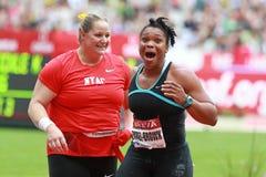 Shot Put. CAMARENA-WILLIAMS Jillian (USA) national record (20m18) and BOREL-BROWN Cleopatra (TRI) national record (19m42) in the shot put  at the Meeting Areva Stock Photo