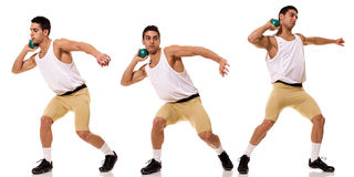 Shot Put. Track and field athlete competing in shot put. Studio shot over white Stock Photos