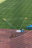 Shot Put. Field and track lanes empty detail from stadium Royalty Free Stock Photos