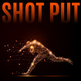 Shot put athlete. Polygonal shot put athlete in motion. Silhouette of a man made of lines and points. Fire style vector illustration Royalty Free Stock Photography