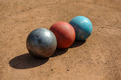 Shot put. On athletic field Royalty Free Stock Image