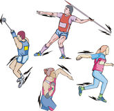 Shot put, Discus, Hammer and Javelin throw. Athletics: Shot put, Discus, Hammer and Javelin throw. Set of color vector illustrations Royalty Free Stock Image