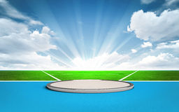 Shot put, discus and hammer throw post outside. Sport theme render illustration background Stock Photo
