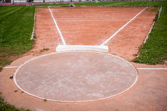 Shot put ring. And field with chalk lines Stock Images