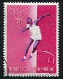 Shot Put. SAN MARINO - CIRCA 1960: stamp printed by San Marino, shows Shot Put, circa 1960 Stock Photo