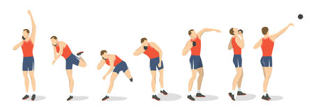 Shot put set. Set of athlete`s rutting of the shot Stock Image