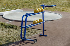 Shot put stand. At  stadium Royalty Free Stock Images