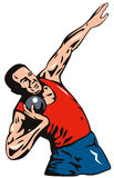 Shot put throwing. Vector art on Shot put throwing isolated on white royalty free illustration