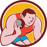 Shot Put Track and Field Athlete Circle Cartoon. Illustration of a track and field shot put athlete ready to throw ball viewed from front set inside circle on Royalty Free Stock Photos