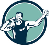 Shot Put Track and Field Athlete Woodcut. Illustration of a track and field shot put athlete ready to throw ball viewed from front set inside circle on isolated Royalty Free Stock Photo