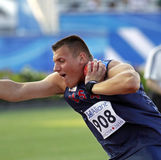 Shot put usa vena. MONCTON, CANADA - JULY 21: Nicholas Vena of USA performs the shot put (six kg) at the 2010 IAAF World Junior Championships on July 21, 2010 in Stock Images