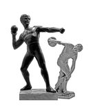 Shot putter and discus thrower. Statuettes of discus thrower (diskobolos) and shot putter (unknown figure Royalty Free Stock Photography