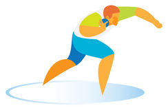 The shot putter performs a throw. The shot putter performs a winning throw at the competitions Royalty Free Stock Images