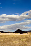 Shot of a Pyramid shaped mountain in Death Valley. With dramatic clouds stock photography