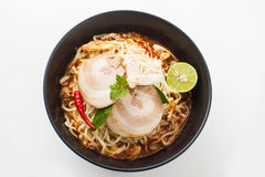Shot ramen isolated in studio on white background, Fusion food with Thai style Royalty Free Stock Photography