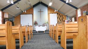 Religious chapel or funeral home for funeral service. Shot of religious chapel or funeral home for funeral service royalty free stock photo