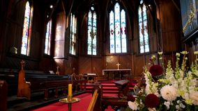 Religious chapel or funeral home for funeral service. Shot of religious chapel or funeral home for funeral service royalty free stock photos