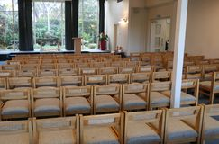 Religious chapel or funeral home for funeral service. Shot of religious chapel or funeral home for funeral service stock image