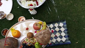 Shot of religious offerings in Indian wedding ceremony at Hotel Amar Villas, Agra, Uttar Pradesh, India stock footage