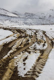 Shot in Road Snowy Landscape Royalty Free Stock Photography