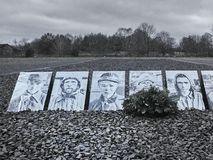 Shot of a row of pictures dedicated to victims at the Sachsenhausen Concentration camp royalty free stock images