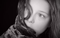 Shot of a Scared Child. Black and White Shot of a Scared Child Royalty Free Stock Images