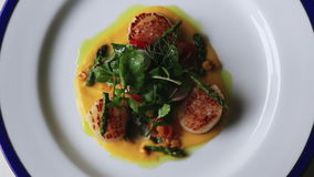 Shot of seafood served in plate, Hotel Amar Villas, Agra, Uttar Pradesh, India stock video footage