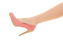 Shot of leg and shoes with heel. Close-up shot of leg and shoes with heel stock photos
