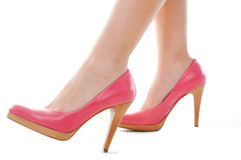 Shot of leg and shoes with heel. Close-up shot of leg and shoes with heel royalty free stock photo