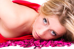 Sexy woman in red dress with rose petals Stock Images