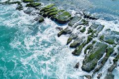 Laomei Green Reef Aerial View - Taiwan North Coast seasonal features, shot in Shimen District, New Taipei, Taiwan. royalty free stock photography