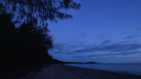 Shot of shore and ocean. A wide shot of shore and ocean with trees stock video footage