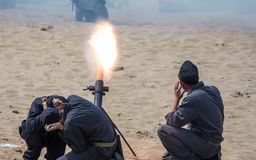 Shot. From a mortar. The staging of the battle on the embankment in Samara Stock Photo
