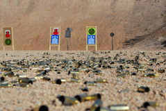 SHOT Show Media Day, Shooting. A live gun and rifle range full of used cartridges, located in Las Vegas, Nevada, USA stock photo