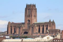 Shot showing the Anglican Cathedral in Liverpool. A shot showing the south e of the Anglican cathedral in Liverpool, Merseye royalty free stock photography
