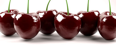 Shot of six red cherries Stock Photography